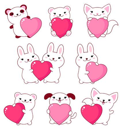 Set of cute animals  baby - polar bear, panda, dog, bunny, cat. With pink and red shiny Valentine hearts kawaii style. EPS8 Illustration
