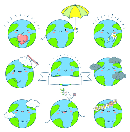 Set of cute Earth icons in kawaii style with smiling face and pink cheeks. Planets with flower, heart, umbrella. EPS8