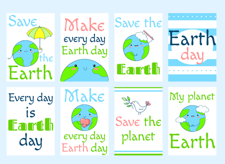 Set of Earth day banners, labels, flyers, stickers, placards with cute planet in kawaii style and inscriptions. Vector template card for greeting, decoration, congratulation, invitation. EPS8
