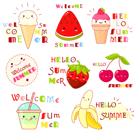 Hello summer. Set of summertime icons with cute fruits, ice creams and inscriptions. Sticker and label collection for scrapbooking. Vector template for greeting, decoration, invitation. EPS8