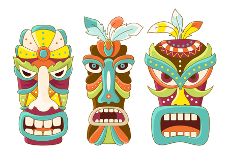 Collection of tiki tribal mask. Sticker set for scrapbooking. Vector template mask for greeting, decorations, congratulations in green, brown, blue, yellow and orange color. ESP8 Illustration