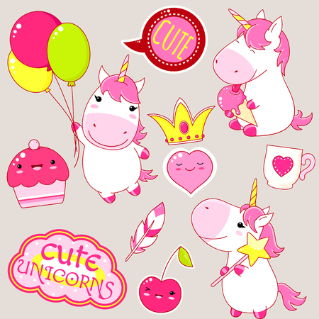 Set of cute unicorns in kawaii style. Unicorn with magic wand, balloon and ice cream, plant in flowerpot, crown, cup, feather, cherry, sticker with inscription cute unicorns. EPS8