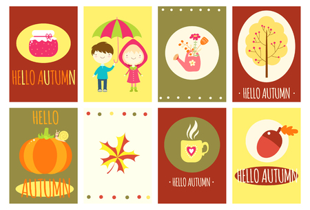 Hello autumn. Set of banner, flyer, placard, sticker in naive hand drawn style. Boy with umbrella, girl in a raincoat, pumpkin, yellow maple leaf, jam. EPS8 向量圖像