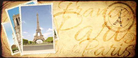 Vintage travel background with retro photos with landmarks of Paris. Eiffel tower and Cathedral of Notre Dame de Paris. Old paper texture with inscriptions