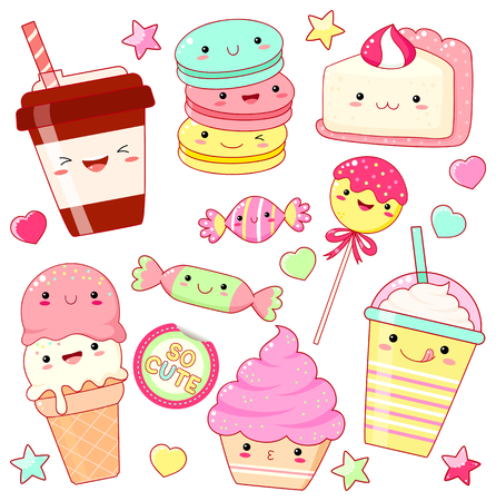 Set of cute sweet icons in kawaii style with smiling face and pink cheeks for sweet design. Sticker with inscription So cute. Ice cream, candy, cap with coffee, soda, cupcake, macarons. EPS8 Illustration