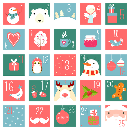Christmas advent calendar with elements in naive hand drawn style. Set of winter holiday xmas icons with Santa Claus, polar bear, gifts, snowman, snowflake, deer, mittens, angel, owl, bird. EPS8