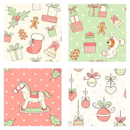 Set of seamless patterns with cute Christmas toys in retro style. Bear in rabbit costume, rocking horse, bell, stack of gifts, Santa's hat, balls with ribbon bows, gingerbread, sock, holly berries.