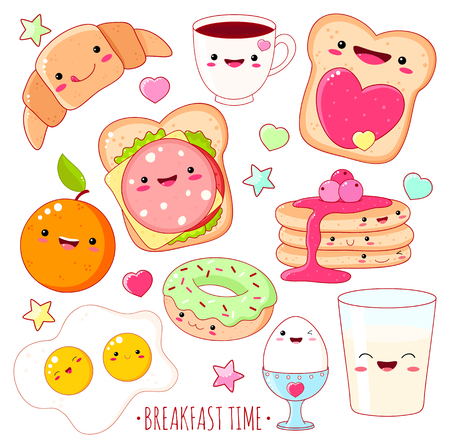 Breakfast time. Set of cute food icons in style with smiling face and pink cheeks for sweet design. Illustration
