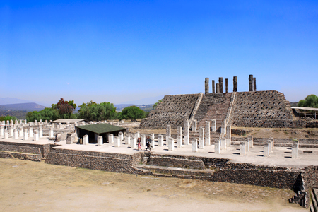 Famous Toltec Atlantes - columns on top Pyramid of Quetzalcoatl, Tula de Allende, Hidalgo state, Mexico.