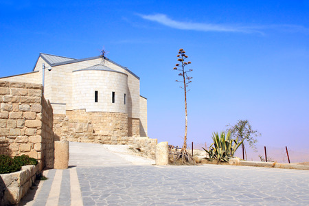 Basilica of Moses (Memorial of Moses) on Mount Nebo, Jordan, Middle East Stock Photo