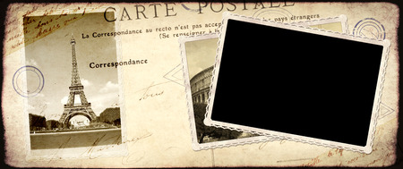 Vintage travel background with retro photos of Eiffel tower in Paris and old photo. Mock up template for retro design. Copy space for your text