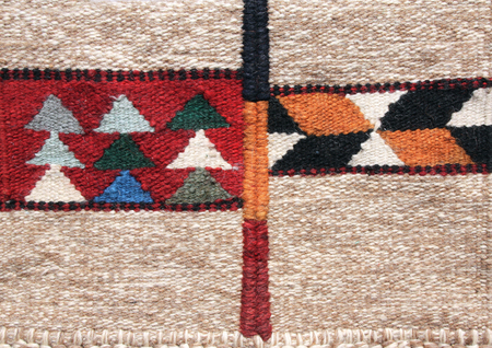 Texture of traditional jordanian wool carpet with geometric pattern, Jordan, Middle East