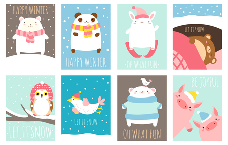 Happy winter. Set of template card with cute animals and winter scenes with snow. Inscription let it snow, oh what fun, be joyful. EPS8