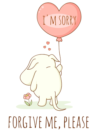 Cute sad cartoon animal with heart shaped balloon. Inscription I'm sorry, Forgive me, please. Isolated on white background. EPS8