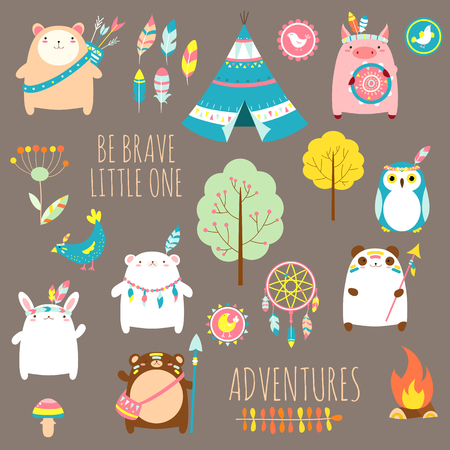 Be brave little one. Vector set of cute woodland tribal animals, birds, tent, wigwam, dream catcher in cartoon style. EPS8 Illustration