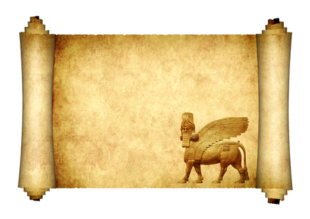Medieval scroll with lamassu - human-headed winged bull statue, Assyrian protective deity. Isolated on white background. Copy space for text. Mock up template. 3d