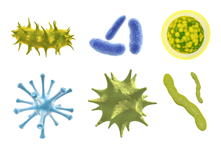 Set of virus, germ and bacteria. Collection of different cell illness and microorganism. Isolated on white background. 3d render Stock Photo