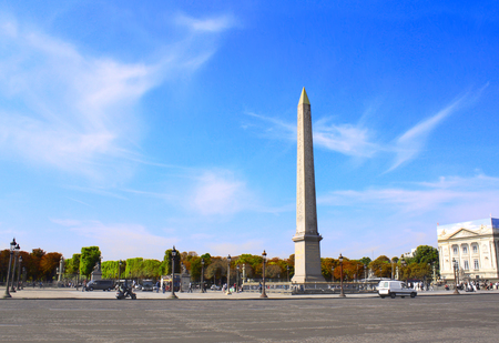 Egyptian Luxor obelisk with hieroglyphics on Place de la Concorde in Paris, France, Europe