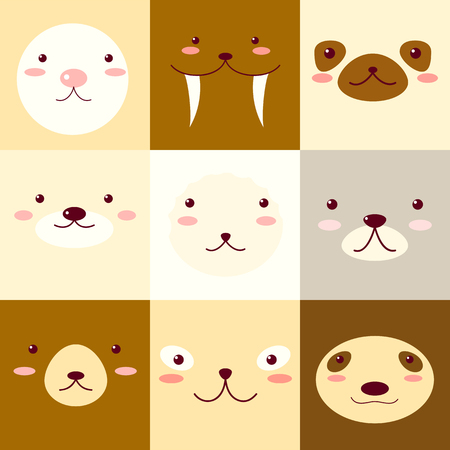 Collection of avatars icons with faces of cute animals. Vector icons set in flat style. EPS8