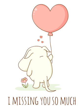 Cute sad cartoon animal with heart shaped balloon. Inscription I missing you so much. Isolated on white background. EPS8 Çizim
