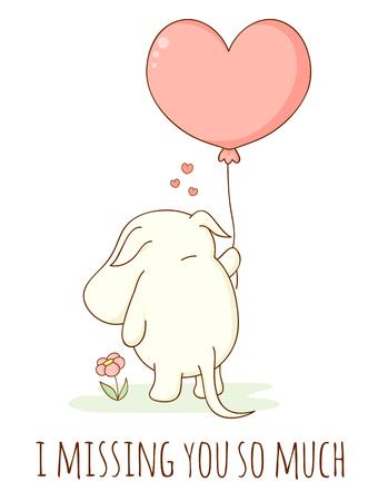 Nettes trauriges Karikaturtier mit herzförmigem Ballon. Inschrift Ich vermisse dich so sehr. Isoliert auf weißem Hintergrund. EPS8