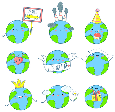 22 April - Earth day. Set of cute Earth icons in kawaii style with smiling face and pink cheeks. Planets with flower, heart, gift. EPS8 Illustration