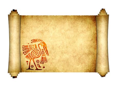 Pergamino antiguo con patrones tradicionales de los indios americanos con garza. Aislado sobre fondo blanco. Copie el espacio para su texto. Simulacros de plantilla. Render 3d