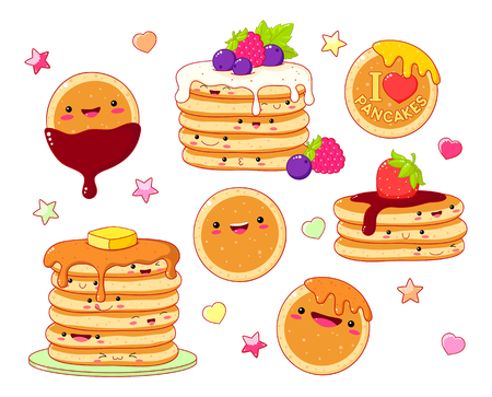 Set of cute pancake icons in kawaii style with smiling face and pink cheeks for sweet design. Pancakes with maple syrup, butter, chocolate and berries. EPS8