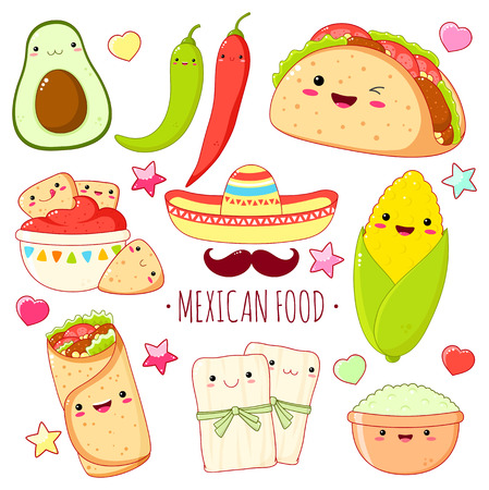 Set of cute mexican food stickers in kawaii style with smiling face and pink cheeks. Corn, burrito, nachos, guacamole, avocado, fajitas. EPS8