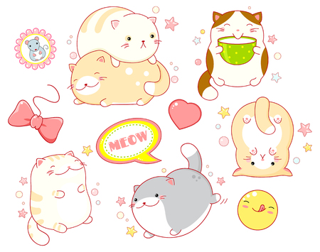 Collection of stickers with cute cats in kawaii style in different situations eating, sleeping, running, playing. EPS8