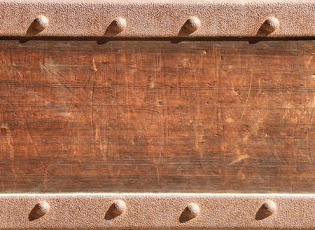 Texture of ancient wood with metal rivets. Mock up template. Copy space for text Stockfoto
