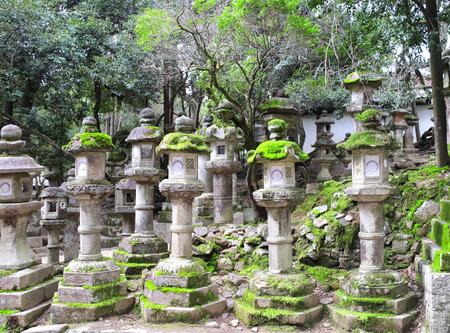 Old stone japanese lanterns at Kasuga Grand Shrine (Kasuga-Taisha Shrine), Nara Japan.    site