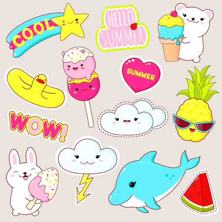 Set of cute vacation icons in kawaii style. Bunny and polar bear with ice cream,  lifebuoy, pineapple, dolphin, watermelon, sticker with inscription hello summer, cool, wow. 8