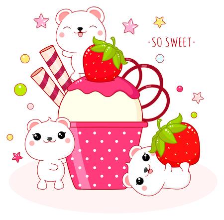 Cute yummy card in kawaii style. Lovely polar bears with strawberry ice cream. Inscription So sweet. EPS8