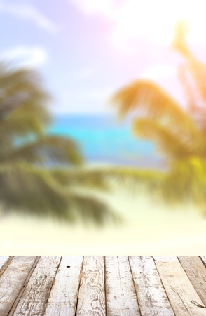 Wooden table top on blurred tropical seascape background Stock Photo
