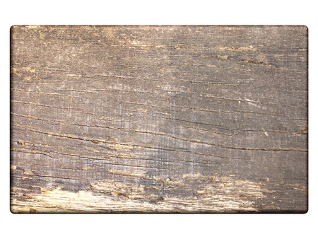 Old wooden plank. Isolated on white background. Mock up template. Copy space for text. 3d render