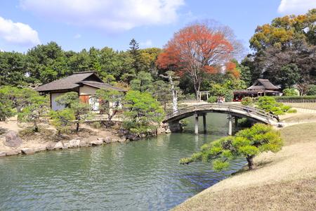 Decorative bridge and pavilion in Koishikawa Korakuen garden, Okayama, Japan