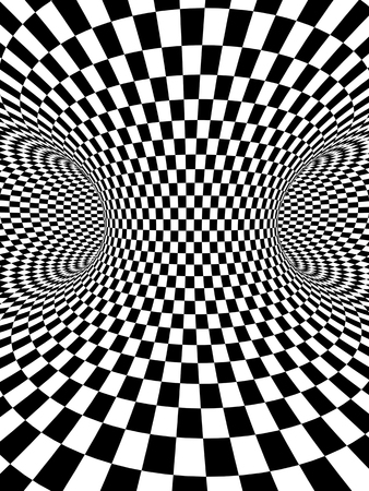 Abstract illusion. Geometric background with checkered texture of black and white colors. 3d render Stock Photo