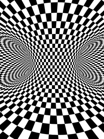 Streszczenie iluzja. Geometryczne tło z teksturą w kratkę czarno-białe kolory. renderowania 3D