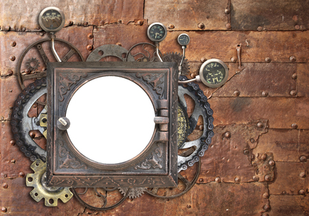 Grunge background with metallic frame with vintage machine gears and cogwheel. Mock up template. Copy space for text. Can be used for steampunk and mechanical design