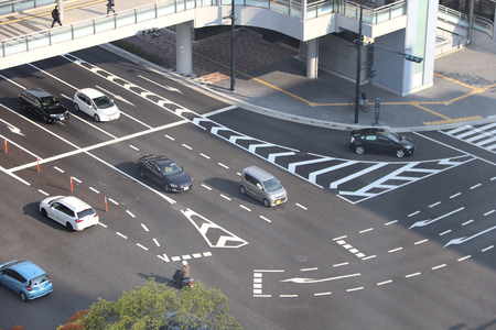 Aerial view of road intersection, Hiroshima, Japan 免版税图像