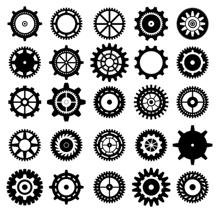 Collection of retro gear icon. Vector vintage transmission cogwheels and gears. Can be used for industrial, technical, mechanical and steampunk design. 8