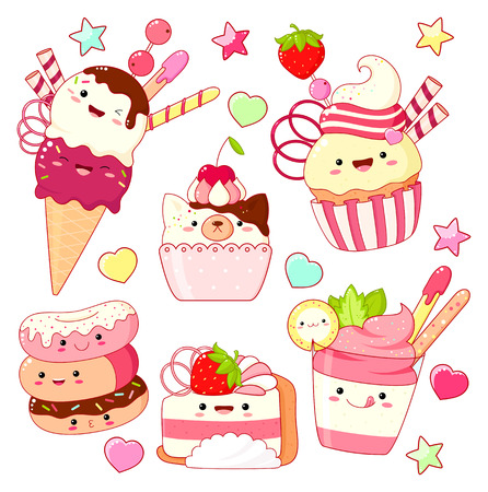 Set of cute sweet icons in kawaii style with smiling face and pink cheeks for sweet design. Ice cream, donuts, cake, sundae kids, cupcake. EPS8
