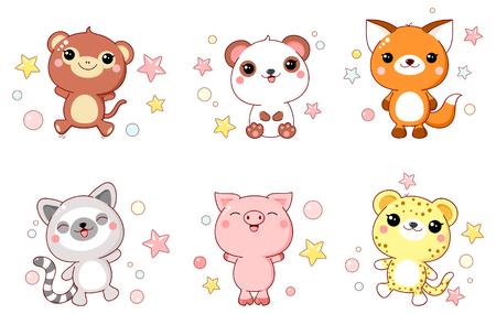 Set of cute animals  baby - monkey, panda, fox, lemur, pig, leopard in kawaii style. 8
