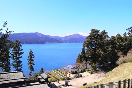 Beautiful landscape with volcanic Ashi lake and sacred mount Fuji, Hakone, Japan