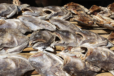 Dried fish heads on the morning market in Yangon, Myanmar Stock Photo