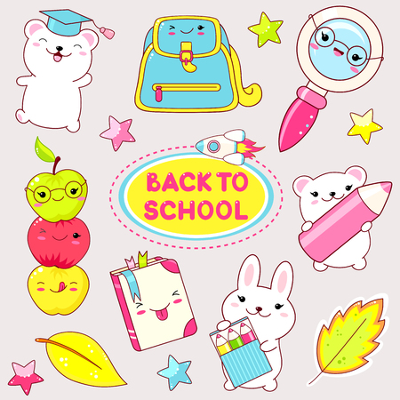 Back to school. Vector set of education icons in kawaii style. Bunny and polar bear with pencil, , rocket, loupe and book with glasses.