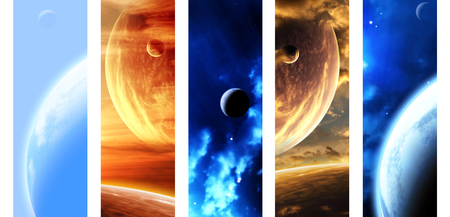 Set of vertical space banners with planets, nebula and stars. Elements of this images furnished by NASA. 3d render Stock Photo