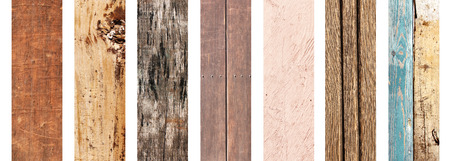 Collection of wooden banners with old wood texture of different colors
