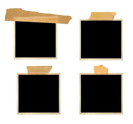 Set of retro photo frames with adhesive tape. Collection of vintage scrapbooking elements. Isolated on white background. Mock up template. Copy space for text Banque d'images